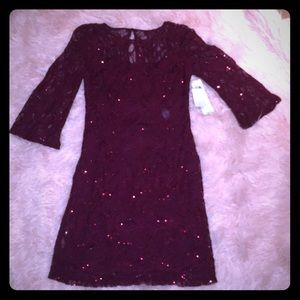 NWT Leslie Fay Wine Sequin Lace Dress